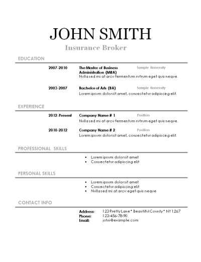 Simple printable resume – Printable Resume Template