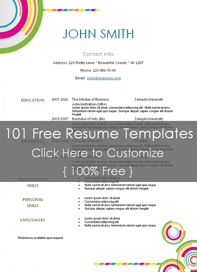 printable sample resume templates .