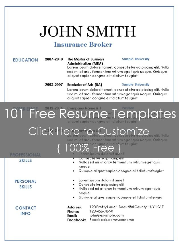 Resume Templates 101 | Resume Templates And Resume Builder