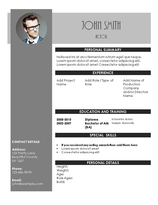 Acting resume template for Actors cv template free
