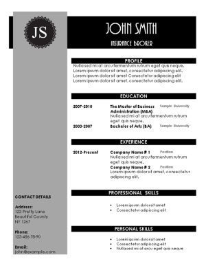 black and grey creative resume tempalte