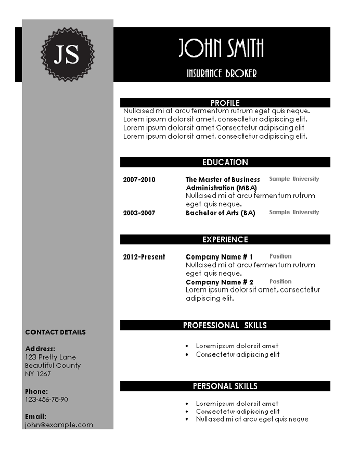 creative resume templates - Free Unique Resume Templates