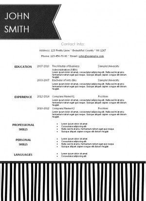 resume with a chalkboard label and black stripes