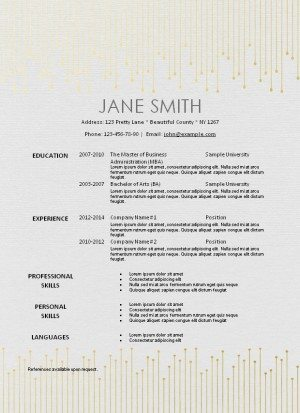 elegant resume on textured paper