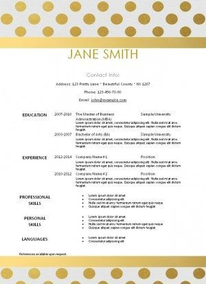 elegent resume template with gold polka dots