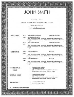 resume template in an ornate silver frame