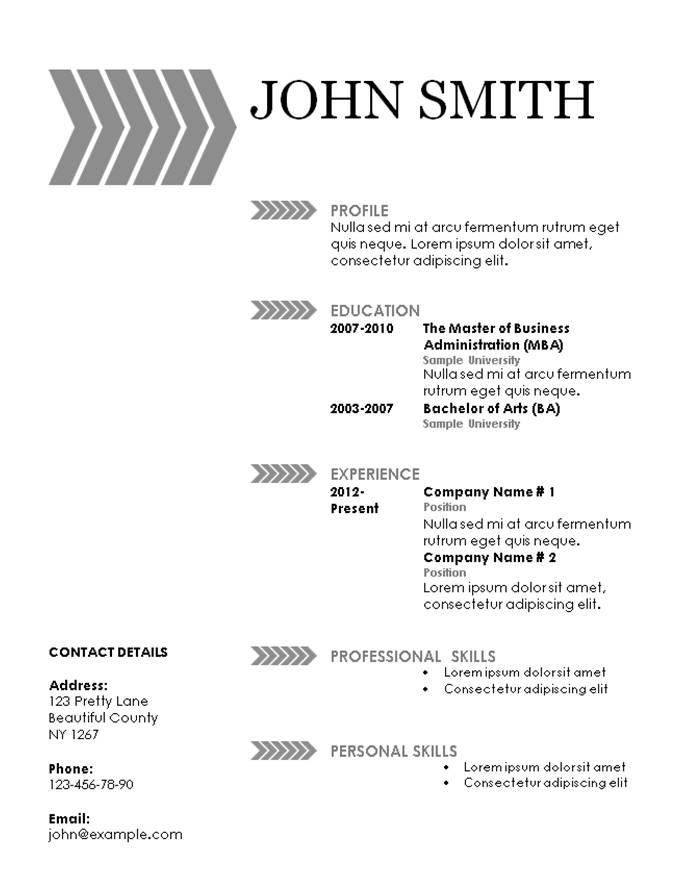 grey arrow pattern on resume template with a simple design
