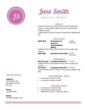 pink resume template with a white background and a pink circle with monogram. The titles are in pink