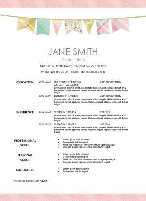 pretty resume for women with a pink stripe and a banner in pastel colors