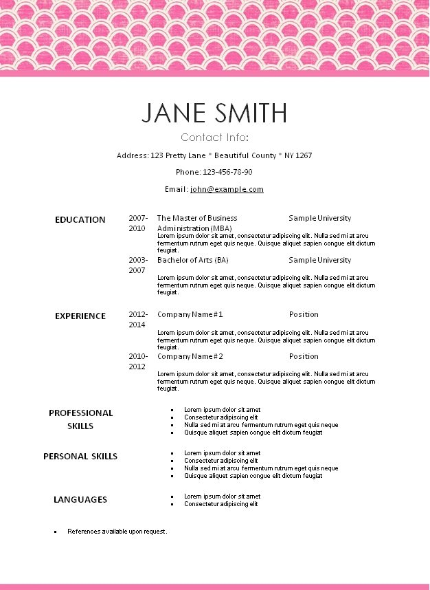 pretty resume templates creative resume template download free