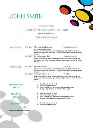 creative resume with a pattern in pink, yellow or blue