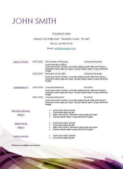 White resume template with a simple abstract design at the bottom of the page