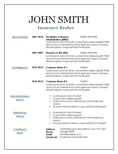 blank resume template with a black border and white space - Blank Resume Template