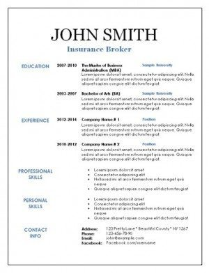 Blank resume with black text and blue titles
