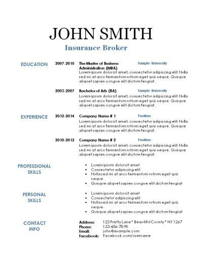 Blank resume template with a white background and black test with blue titles