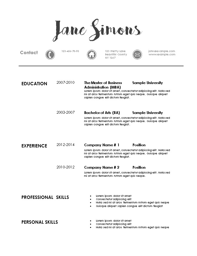 contemporary resume templates free modern resume template 20945 | resume template 3 2