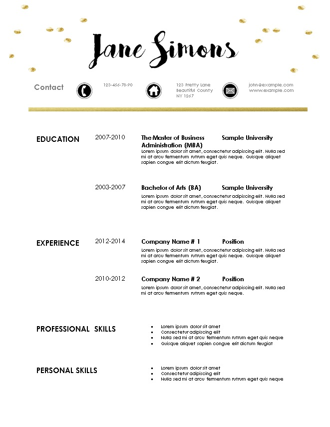 Free modern resume template for Modern resume template free download