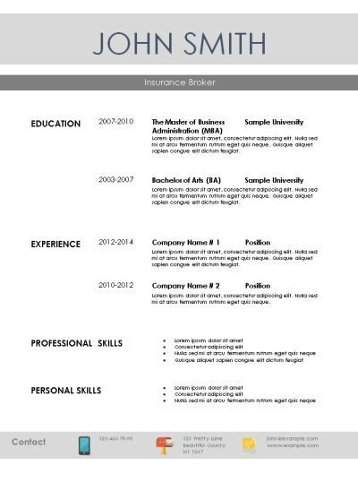 simple template for resume with icons with contact info at the bottom