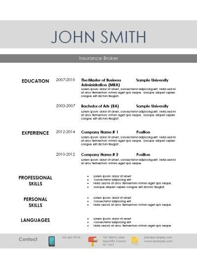 resume template with grey lines and a section with languages at the bottom