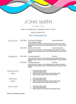 free resume with a modern pattern on the top
