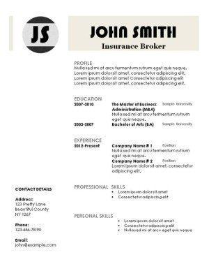 monogram resume template