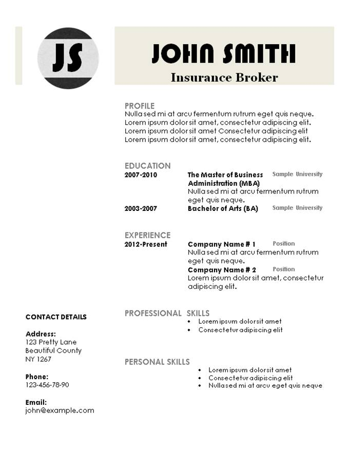 Monogram Resume Template  Simple Free Resume Template