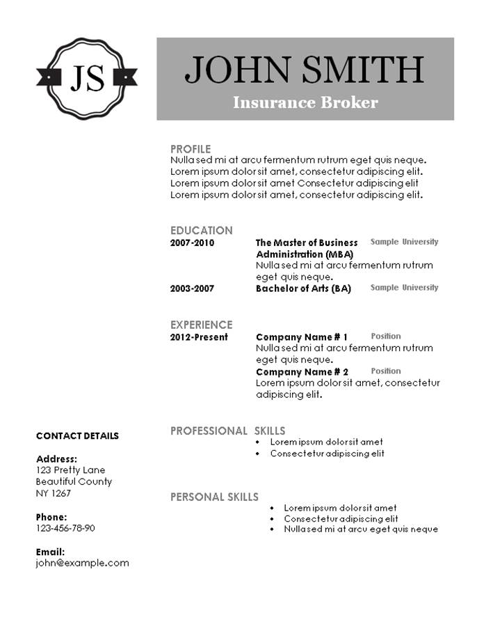 free printable resume template with monogram - Free Printable Resume Templates