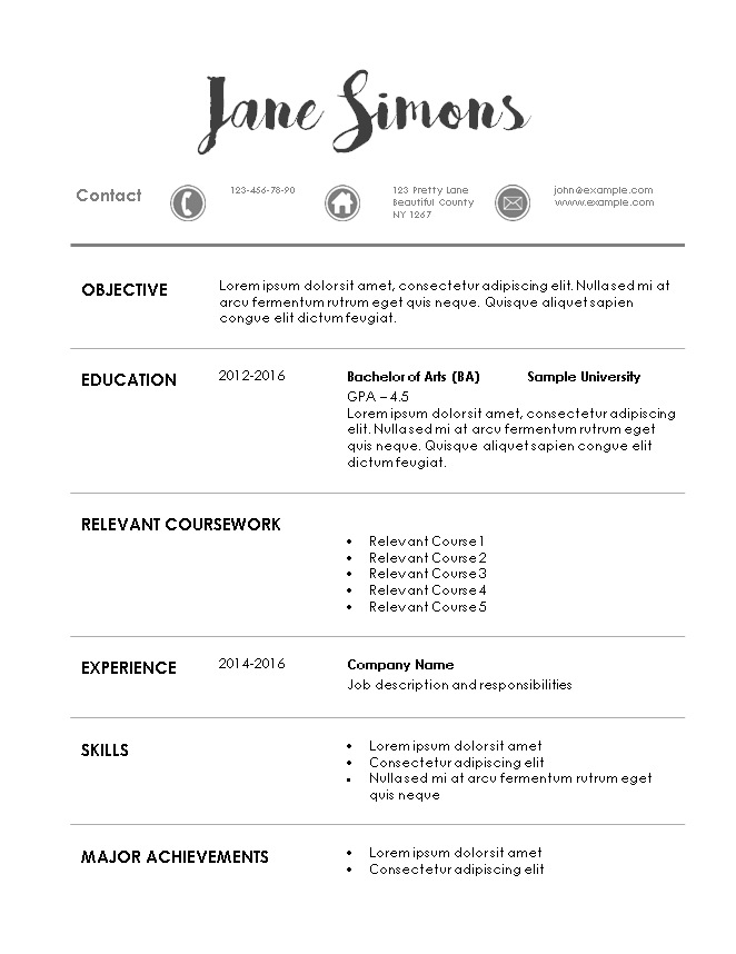 Resume Template Word Internship