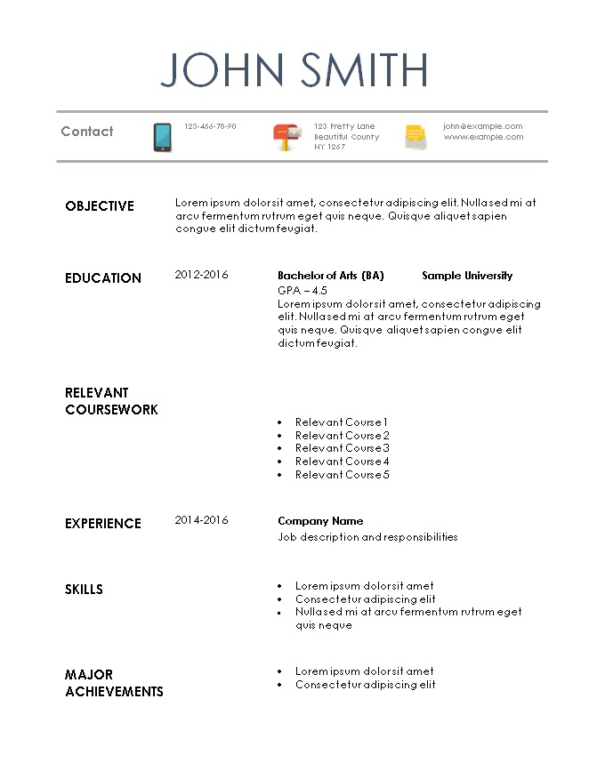 Resume Format For Internship Student Resume Format. Sample Intern