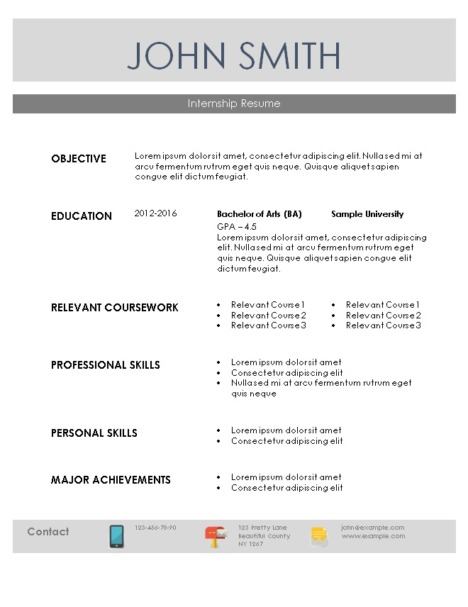 internship resume template doc sample example student free download