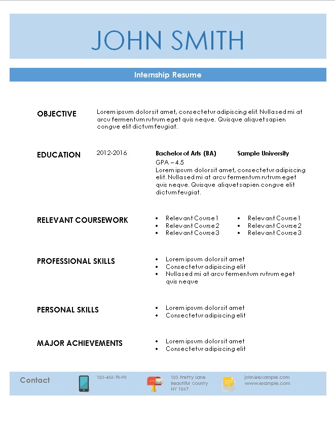 resume for internship internship resume sample