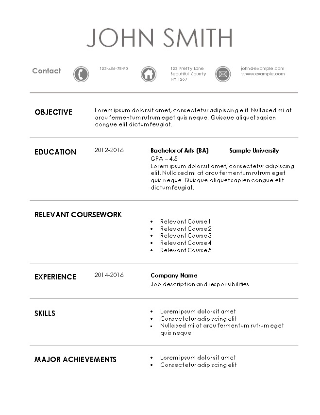 template for internship resumes