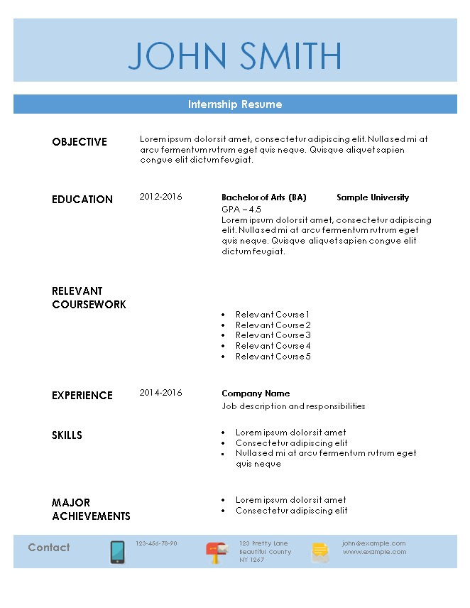 Resume Internship | sample internship resume