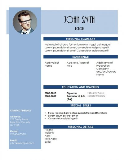 acting resume this editable template is in shades of blue